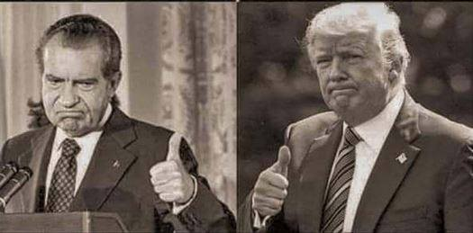 Nixon and Trump with Trump imitating Nixon.