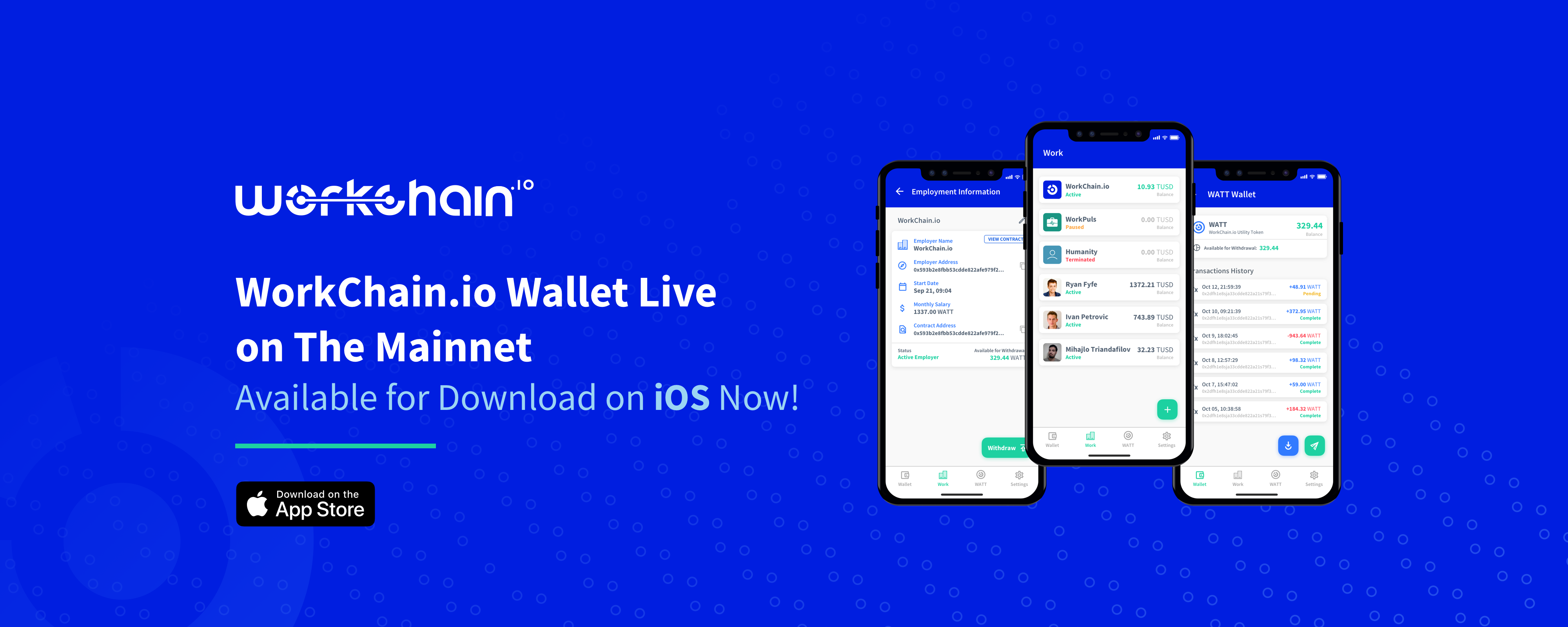 WorkChain io Wallet iOS App Launched — Download Now on the