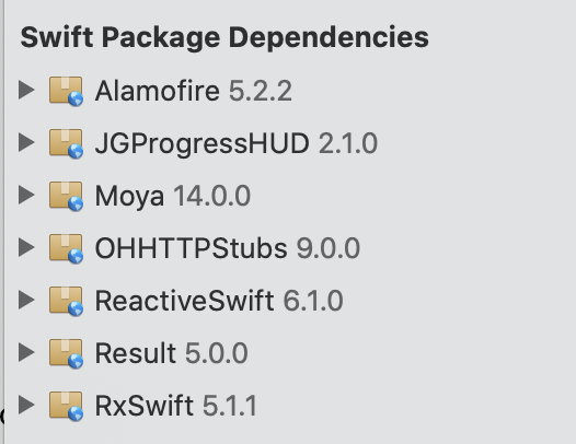 Screenshot of Xcode project showing the Swift packages loaded as dependancies