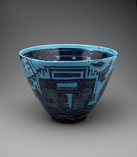 Blue and Black ceramic bowl decorated with references to New York's hip hop scene.