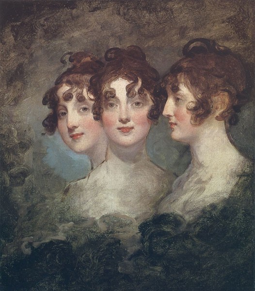 A triple portrait of Betsy in three-quarter, head-on, and profile view. She has dark curly hair, rosy cheeks, and red lips.
