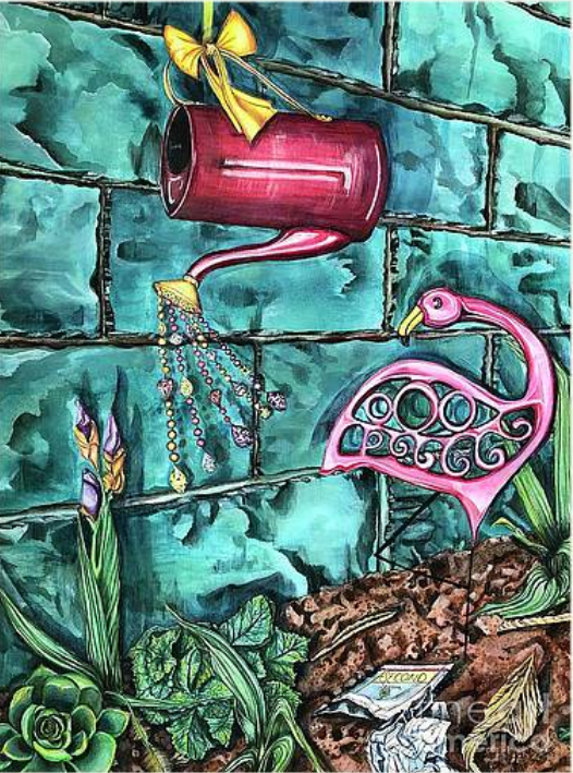 Second Season, artwork, pink lawn ornament flamingo, red watering can with gems, three iris buds, hen and chicks, hollyhock