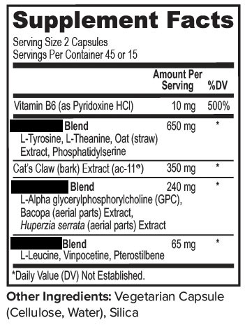 A supplement facts label with many proprietary blends.