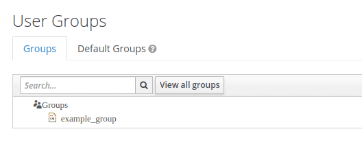 Image shows the screenshot from Keycloak Admin Console showing created groups.