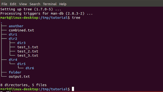A Linux terminal showing a directory tree.