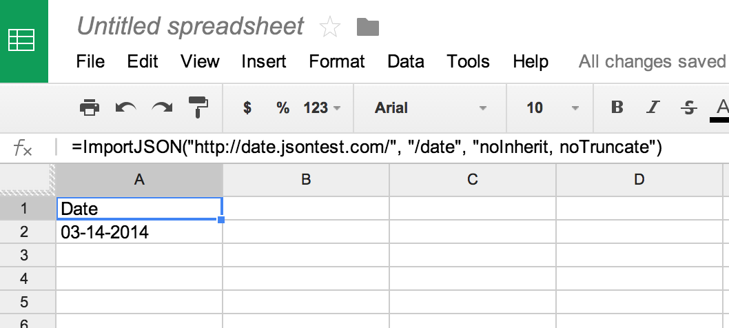 How to import JSON data into Google Spreadsheets in less