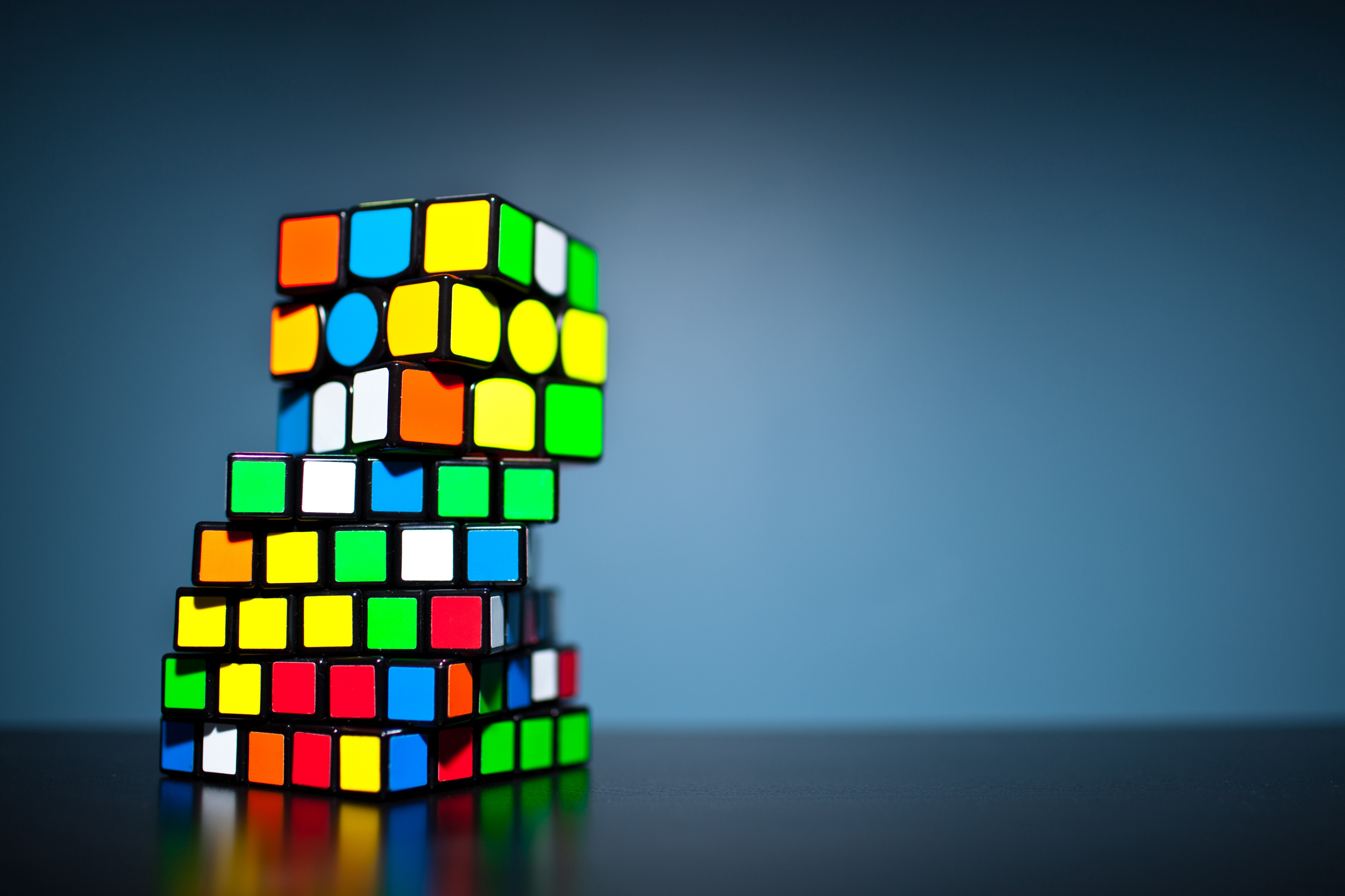 Stack of Rubik cubes turned at an angle