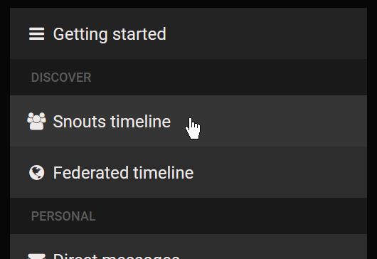 Screenshot of a Mastodon instance's sidebar, centred around the buttons to evoke the local or federated timelines.