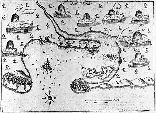 This map of Patuxet harbor (now Plymouth, MA) was made by the French explorer Samuel de Champlain circa 16