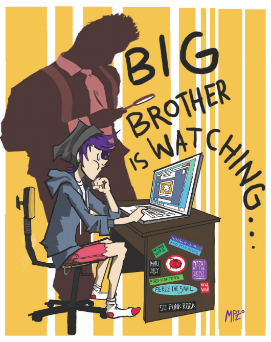 Big Brother is watching you, from 1984, by George Orwell.