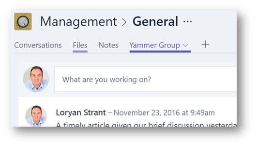Integrating Yammer into Microsoft Teams - REgarding 365