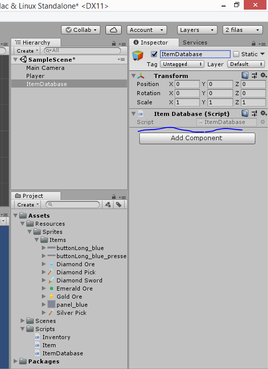 Create an Unity inventory: part 2 Configure the inventory
