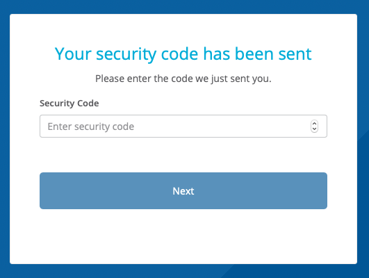A dialog that indicates a security code has been sent, which provides the user the ability to dial up to the security code number using the up and down arrows. Like someone wants to do that with an eight digit number.