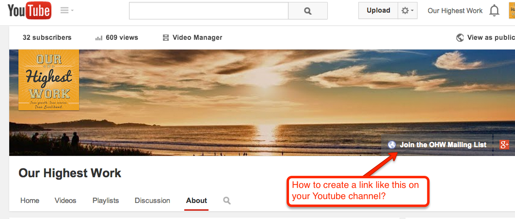 """Youtube Channel: how to add a """"custom link"""" to top banner"""