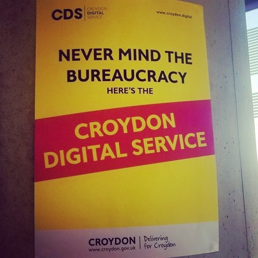 "A poster in classic Sex Pistols album cover style that says ""Never mind the bureaucracy, here's the Croydon Digital Service"""