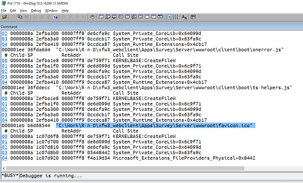 WinDbg: how to set a breakpoint at Win32 CreateFile for a