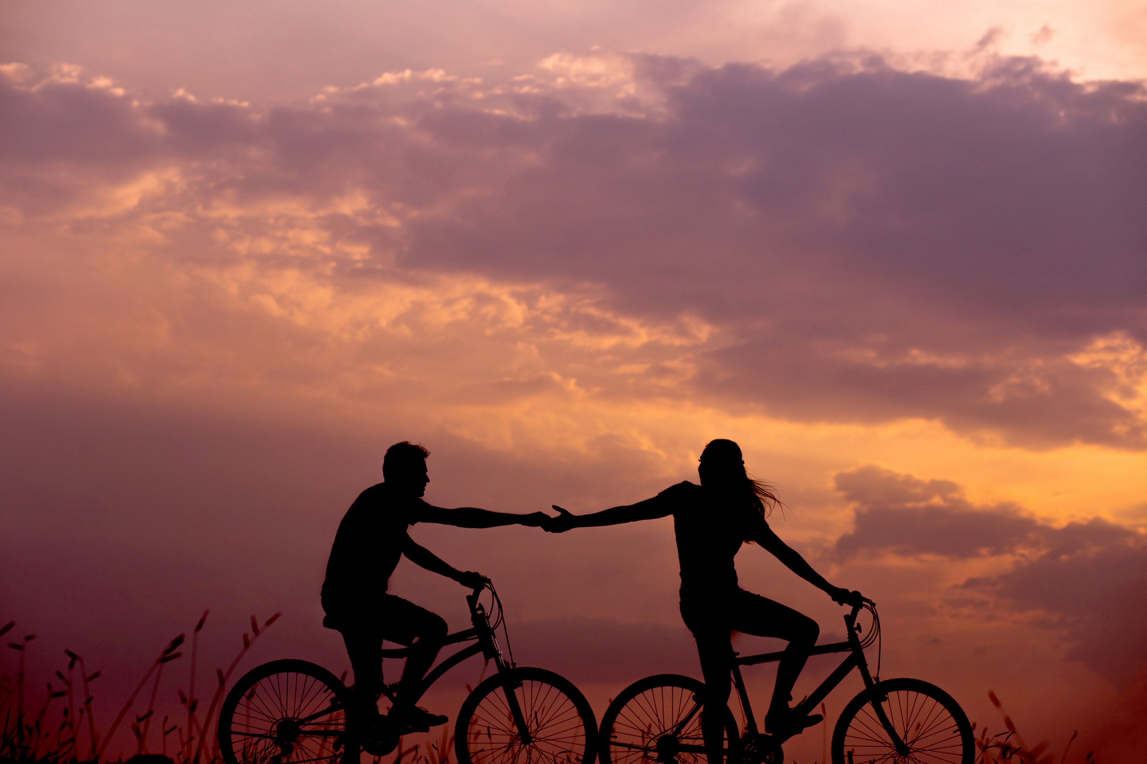 Two bicyclists holding hands while riding on separate bikes