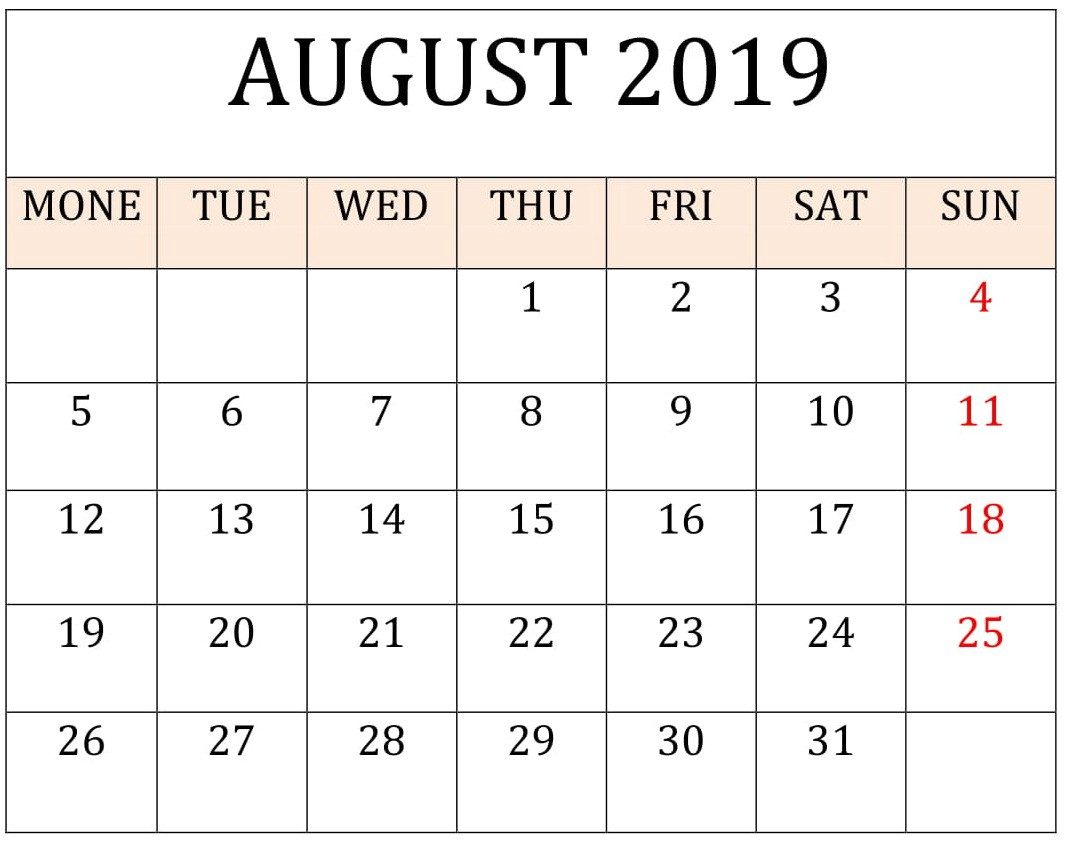 photograph regarding Printable August Calendar known as August 2019 Printable Calendar Planner - Freelatest Calendar