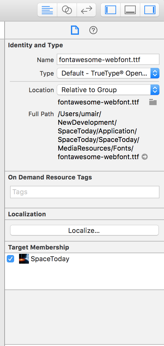 iOS : How to use FontAwesome in Xcode project  - Umair