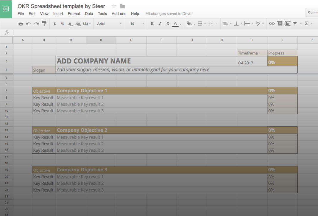 Manage Your Goals With Our Free Okr Template Inside Steer