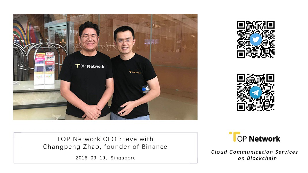 TOP Network CEO and CFO with Changpeng Zhao, founder of Binance
