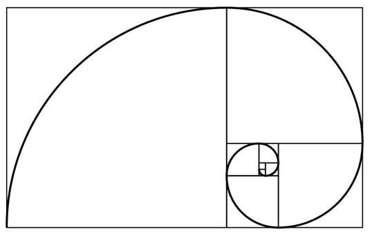 The golden rectangle—all squares growing along the golden ratio, the spiral moving outward in proportion to it