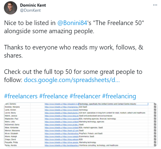 Freelance content marketers