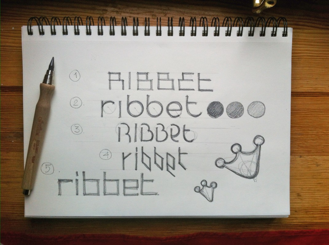 First sketch variants of new lettering for Ribbet logo