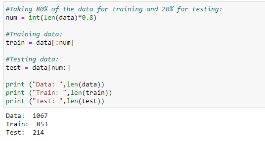 Figure 76: Dividing the data into a testing/training dataset.