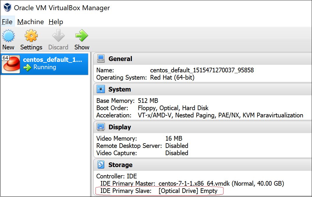 Add an empty optical drive to Oracle VirtualBox instance