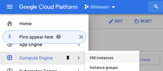 GCP console inset to show the navigation menu expanded, the Compute Engine submenu expanded, and the VM instances menu option