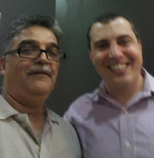 The author Mahesh Khatri with leading Bitcoin expert Mr Andreas Antonopoulos at an event in Singapore in March 2017.