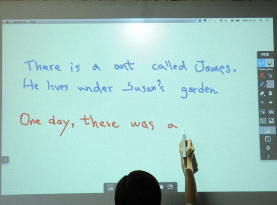 Have students take turns contributing to a running story by adding their own sentence or word to the board.