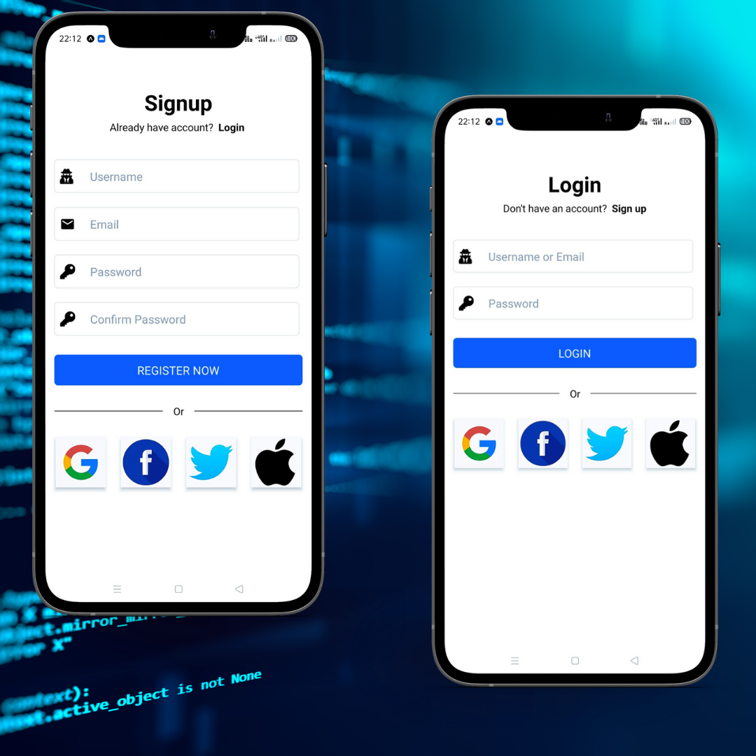 Sign in Sign up UI UX Design using React Native Expo Android ...
