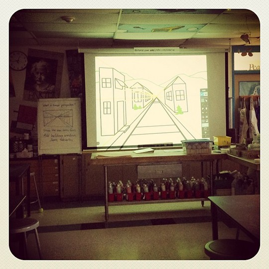 Here's IS-01 in art class, demonstrating perspective so that the whole class can see and understand.