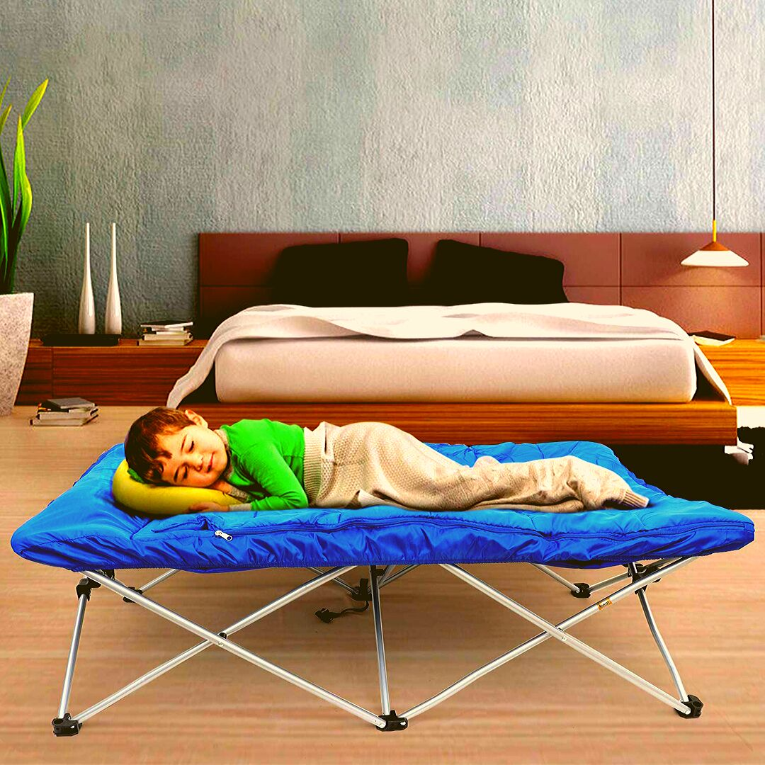 Kurtzy Portable Foldable Toddler Camping Cot Bed With Fitted Sheet For Kids Children By Kurtzy In Medium