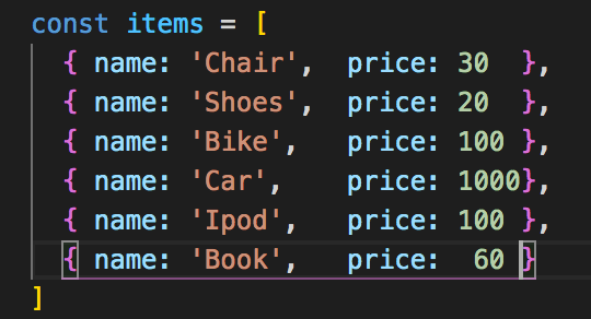 We are going to use this array of items for  all the different array methods