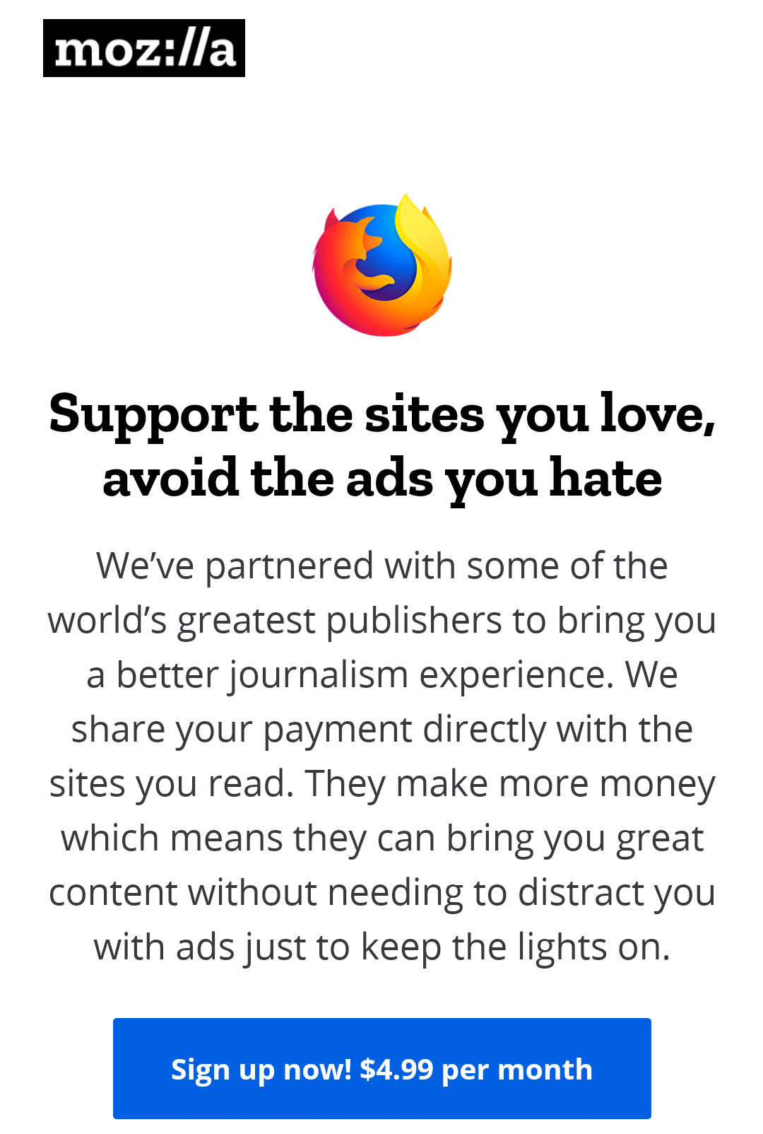 Mozilla starting service to provide ad free internet for