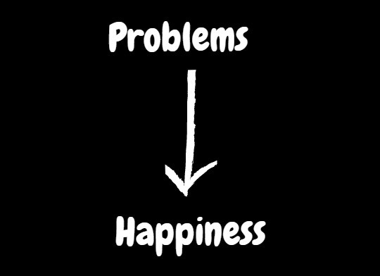 Happiness is generated when we solve problems rather than ignoring them.