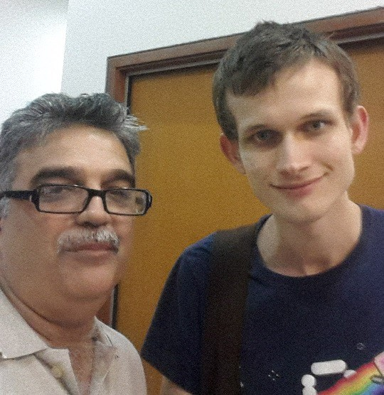 The author Mahesh Khatri with Vitalik Buterin co-founder of the Ethereum cyrpto-currency network at Singapore in March 2017.