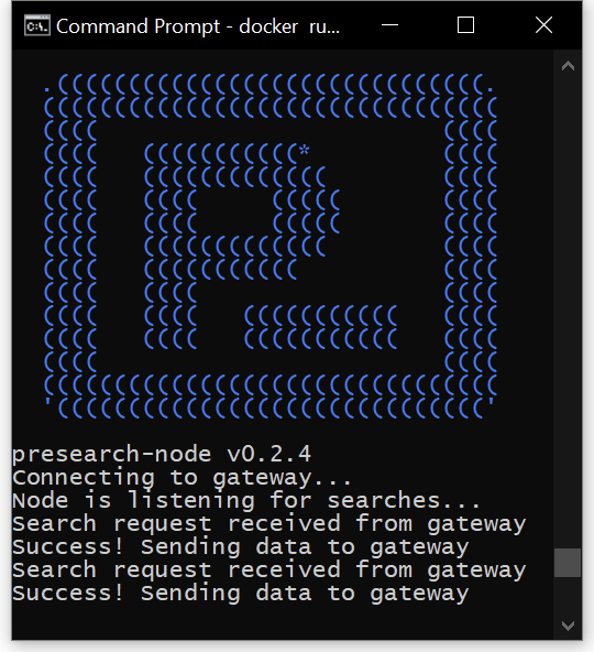 Terminal window showing search nodes starting, connecting to the Presearch gateway, and handling search requests.