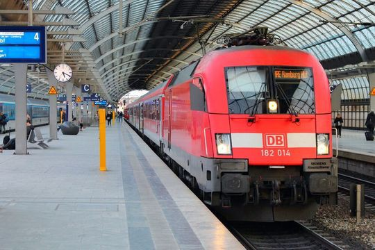 Train at the station in Germany