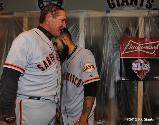 NLDS — Clubhouse Celebration - SF Giants Photos