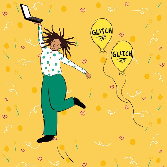 This is an illustration of a figure dancing and holding a laptop computer. The figure is wearing green trousers and a white top with green spots. Two yellow balloons which say 'Glitch' are next to the person. The background is yellow with a fun design featuring hearts, lines and circles.