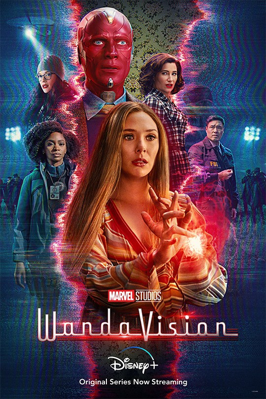 A poster comprised of the characters of WandaVision, with Wanda in the center surrounded in red light as the characters Monica, Vision, Agnes, and Jimmy Woo are surrounded in blue.