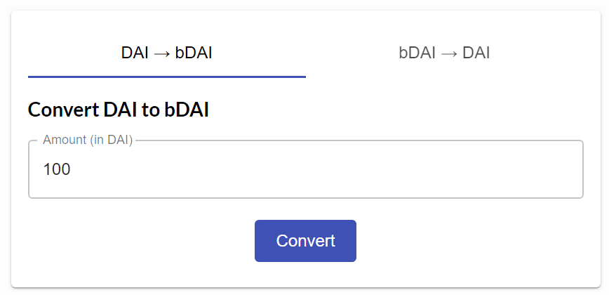 1: 1 conversion between DAI and bDAI