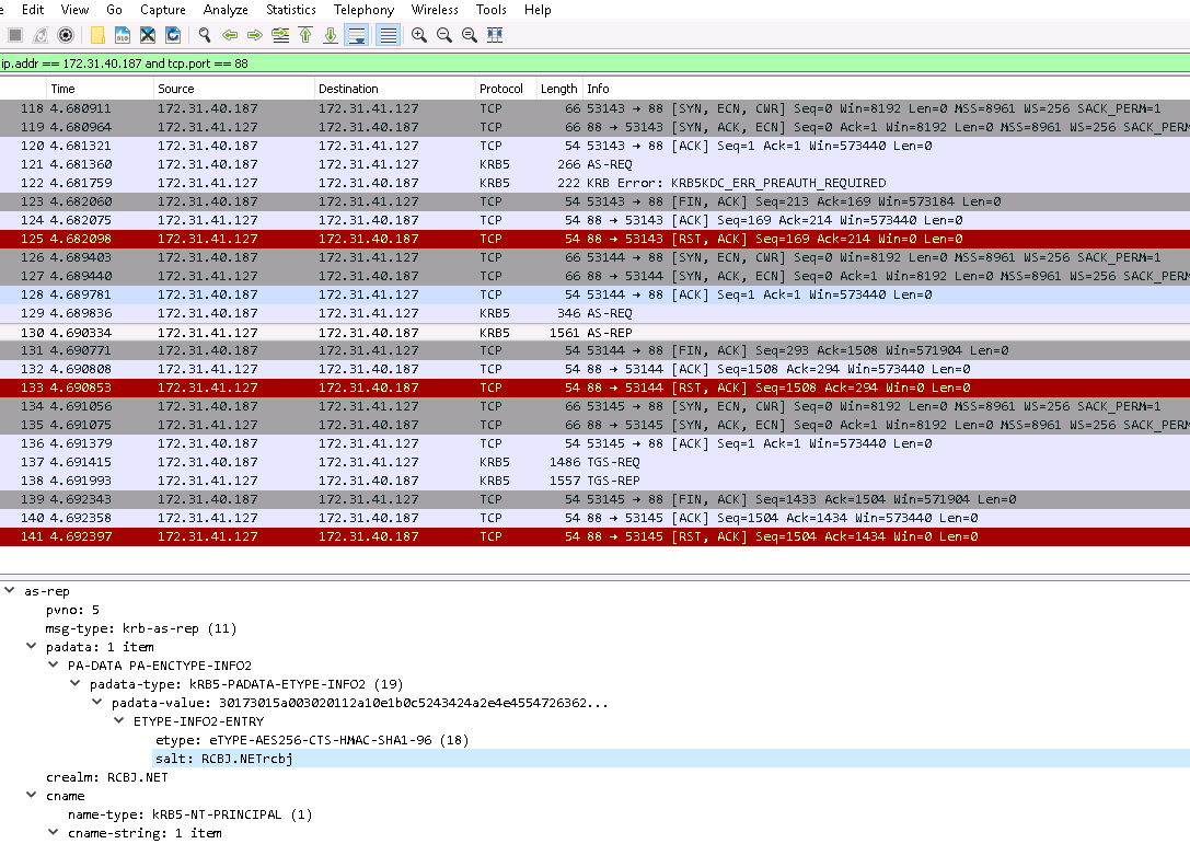 Kerberos Wireshark Captures: A Windows Login Example