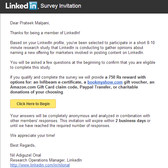 The perfect survey invitation email from LinkedIn - Hook