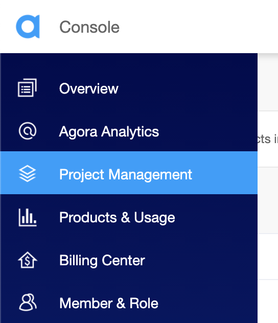 Selecting the Project Management tab in the Agora.io Console.