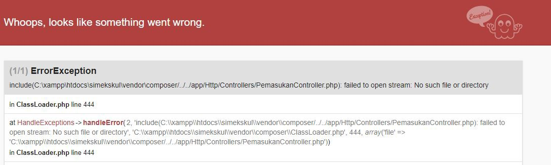 Laravel : ClassLoader Try to Load The Old Controller You Had